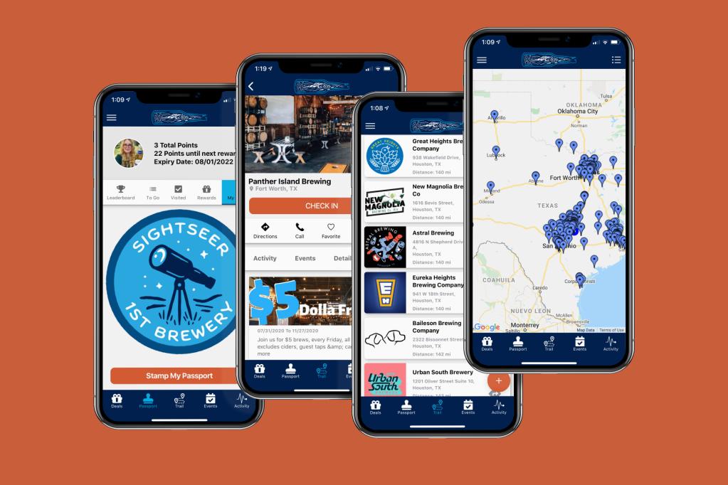 Texas Brewery Explorer app screens
